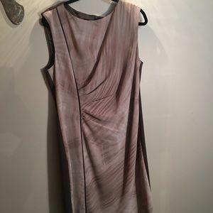 Tahari Mauve & Brown Dress Size 16